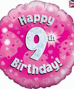 "18"" Happy 9th Birthday Pink Foil"