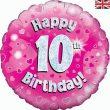 "18"" Happy 10th Birthday Pink Foil"
