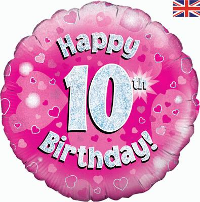 "18"" Happy 10th Birthday Pink Foil"