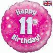 "18"" Happy 11th Birthday Pink Foil"