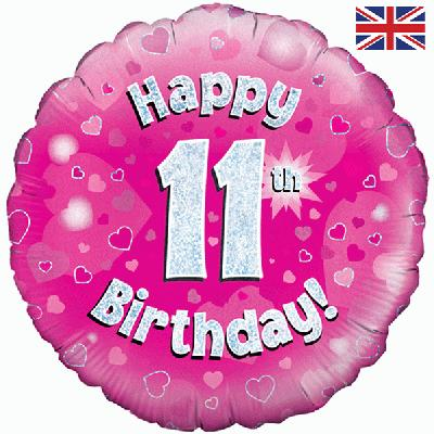 "18"" Happy 11th Birthday Pink Foil"