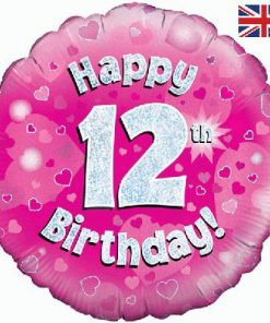 "18"" Happy 12th Birthday Pink Foil"
