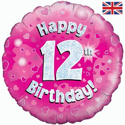 "18"" Happy 12th Birthday Pink Foil"