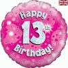 "18"" Happy 13th Birthday Pink Foil"
