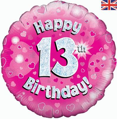 "18"" Happy 13th Birthday Pink Foil"