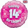 "18"" Happy 14th Birthday Pink Foil"
