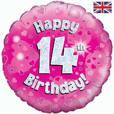 "18"" Happy 14th Birthday Pink Foil"