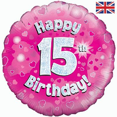 "18"" Happy 15th Birthday Pink Foil"