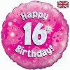 "18"" Happy 16th Birthday Pink Foil Balloon"