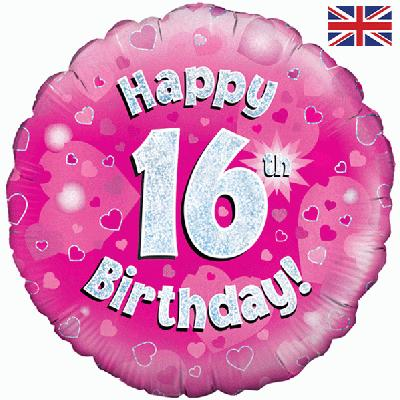 "18"" Happy 16th Birthday Pink Foil Balloon"
