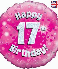 "18"" Happy 17th Birthday Pink Foil"