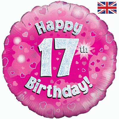 "18"" Happy 17th Birthday Pink Foil"
