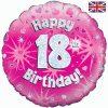 "18"" Happy 18th Birthday Pink Foil"