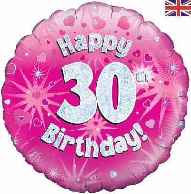 "18"" Happy 30th Birthday Pink Foil"