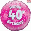"18"" Happy 40th Birthday Pink Foil"