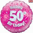 "18"" Happy 50th Birthday Pink Foil"