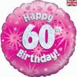 "18"" Happy 60th Birthday Pink Foil"