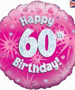 "18"" Happy 60th Birthday Pink Foil"