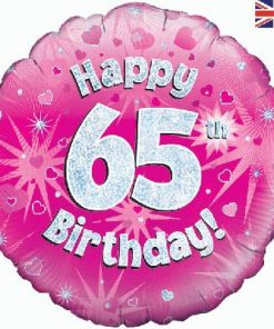 "18"" Happy 65th Birthday Pink Foil"