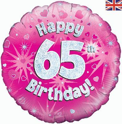 "18"" Happy 65th Birthday Pink Foil"