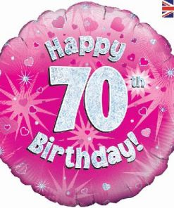 "18"" Happy 70th Birthday Pink Foil Balloon"