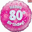 "18"" Happy 80th Birthday Pink Foil"
