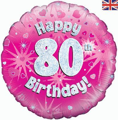 "18"" Happy 80th Birthday Pink Foil"