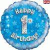 "18"" Happy 1st Birthday Blue Foil"