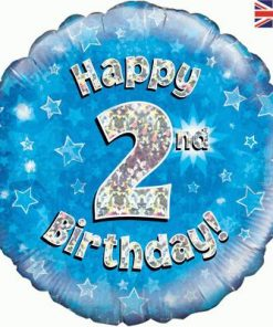 "18"" Happy 2nd Birthday Blue Foil"