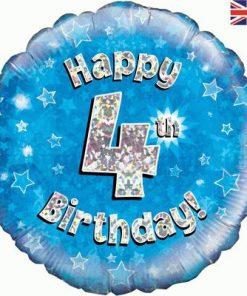 """18"""" Happy 4th Birthday Blue Foil"""