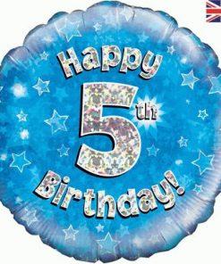 """18"""" Happy 5th Birthday Blue Foil"""