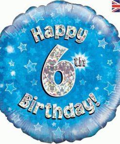 """18"""" Happy 6th Birthday Blue Foil"""