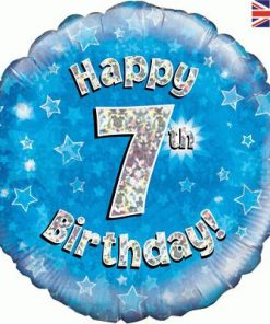 """18"""" Happy 7th Birthday Blue Foil"""