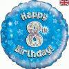 """18"""" Happy 8th Birthday Blue Foil"""
