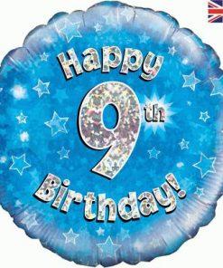 """18"""" Happy 9th Birthday Blue Foil"""