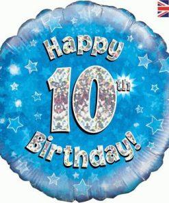 """18"""" Happy 10th Birthday Blue Foil"""