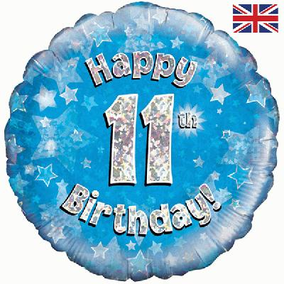 "18"" Happy 11th Birthday Blue Foil"