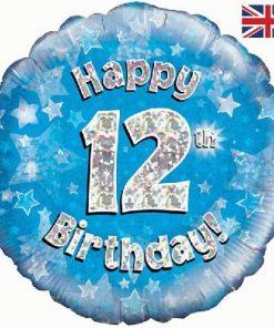 """18"""" Happy 12th Birthday Blue Foil"""