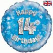 """18"""" Happy 14th Birthday Blue Foil"""