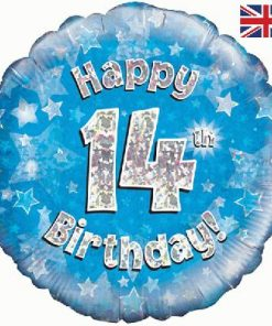 "18"" Happy 14th Birthday Blue Foil"