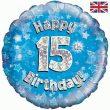 """18"""" Happy 15th Birthday Blue Foil"""