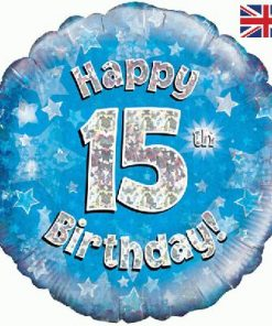 "18"" Happy 15th Birthday Blue Foil"