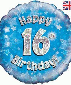 """18"""" Happy 16th Birthday Blue Foil"""