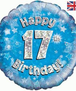 "18""Happy 17th Birthday Blue Foil"