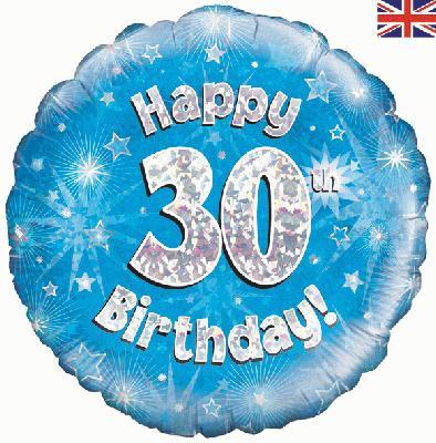 """18"""" Happy 30th Birthday Blue Foil"""