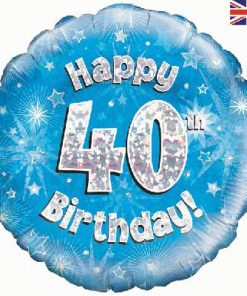 "18"" Happy 40th Birthday Blue Foil"