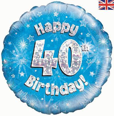 """18"""" Happy 40th Birthday Blue Foil"""