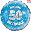 "18"" Happy 50th Birthday Blue Foil"