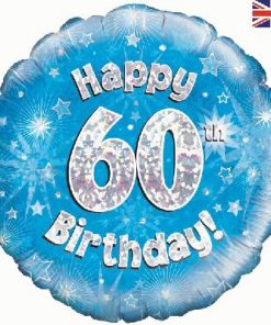 "18"" Happy 60th Birthday Blue Foil"