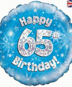 "18"" Happy 65th Birthday Blue foil balloon"